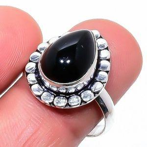Black Onyx Gemstone Ethnic 925 Sterling Silver 8